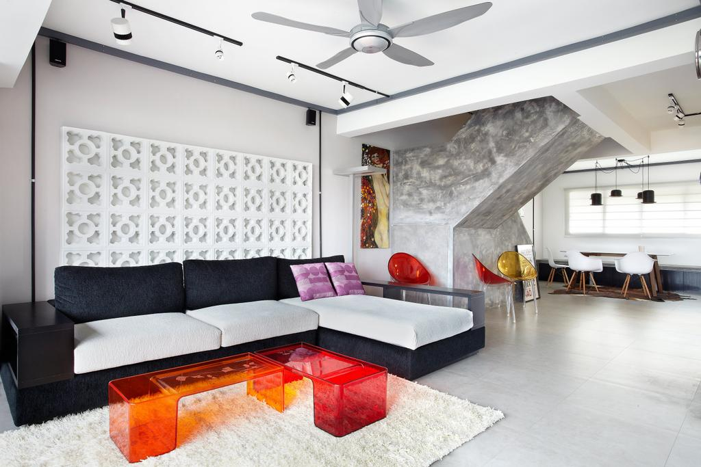 Industrial, HDB, Living Room, Jalan Rajah, Interior Designer, Free Space Intent, Maisonette, Ventilation Bricks, Feature Wall, Ghost Furniture, Building, Housing, Indoors, Loft, Couch, Furniture