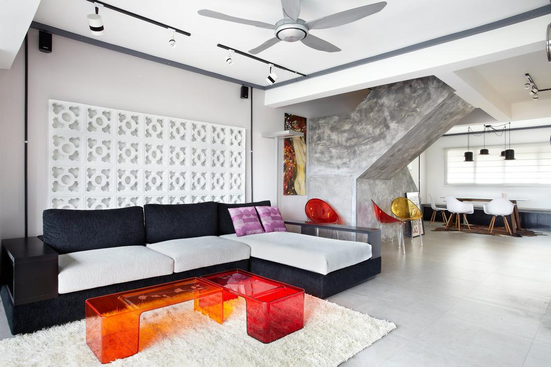 Jalan Rajah, Free Space Intent, Industrial, Living Room, HDB, Maisonette, Ventilation Bricks, Feature Wall, Ghost Furniture, Building, Housing, Indoors, Loft, Couch, Furniture