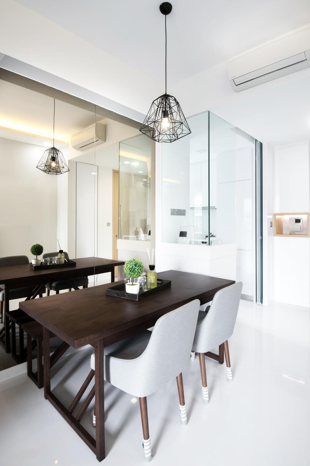Minimalistic, Condo, Dining Room, Riverbay, Interior Designer, Lemonfridge Studio, Light Fixture, Dining Table, Furniture, Table, Indoors, Interior Design, Room