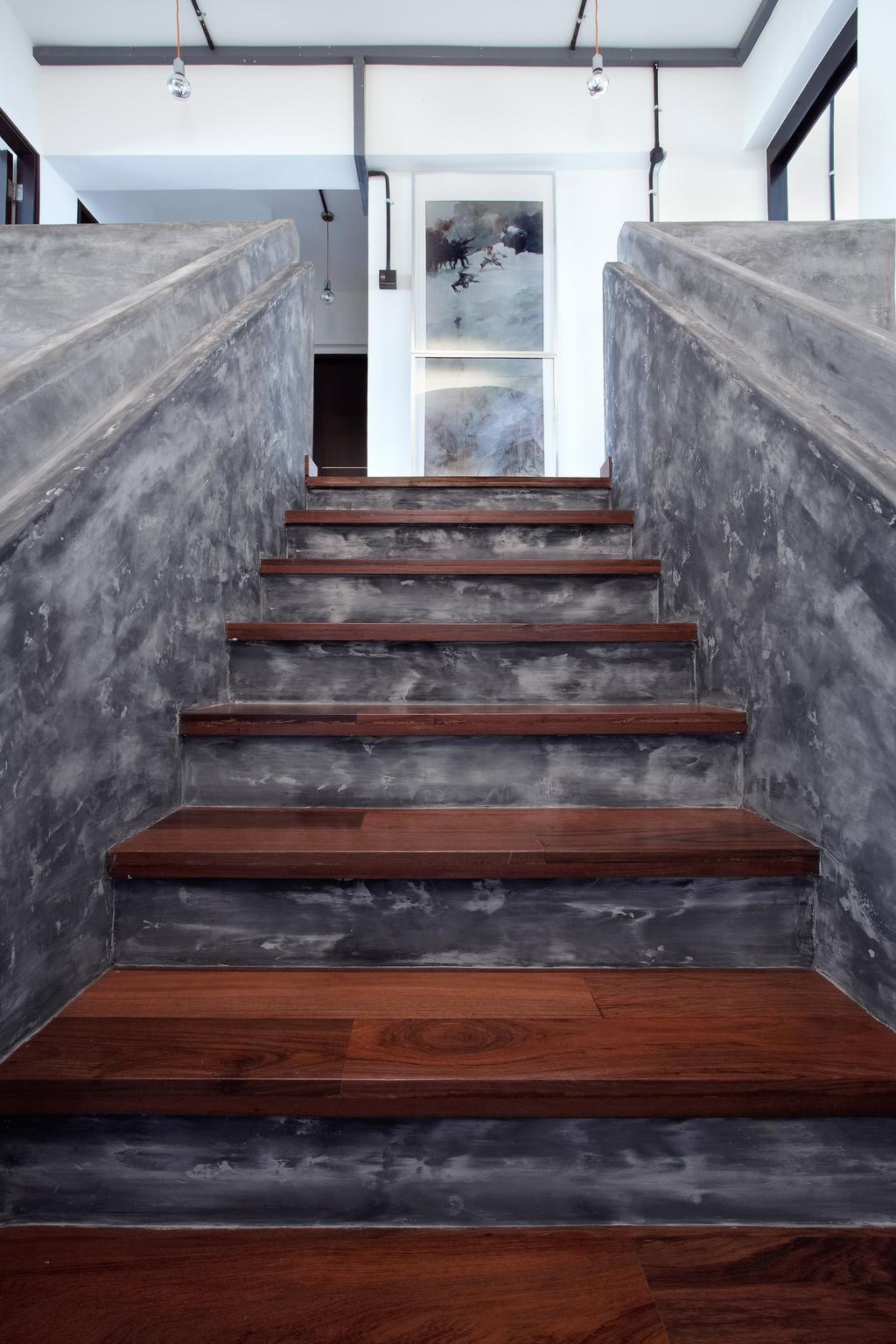 Industrial, HDB, Living Room, Jalan Rajah, Interior Designer, Free Space Intent, Banister, Handrail, Staircase