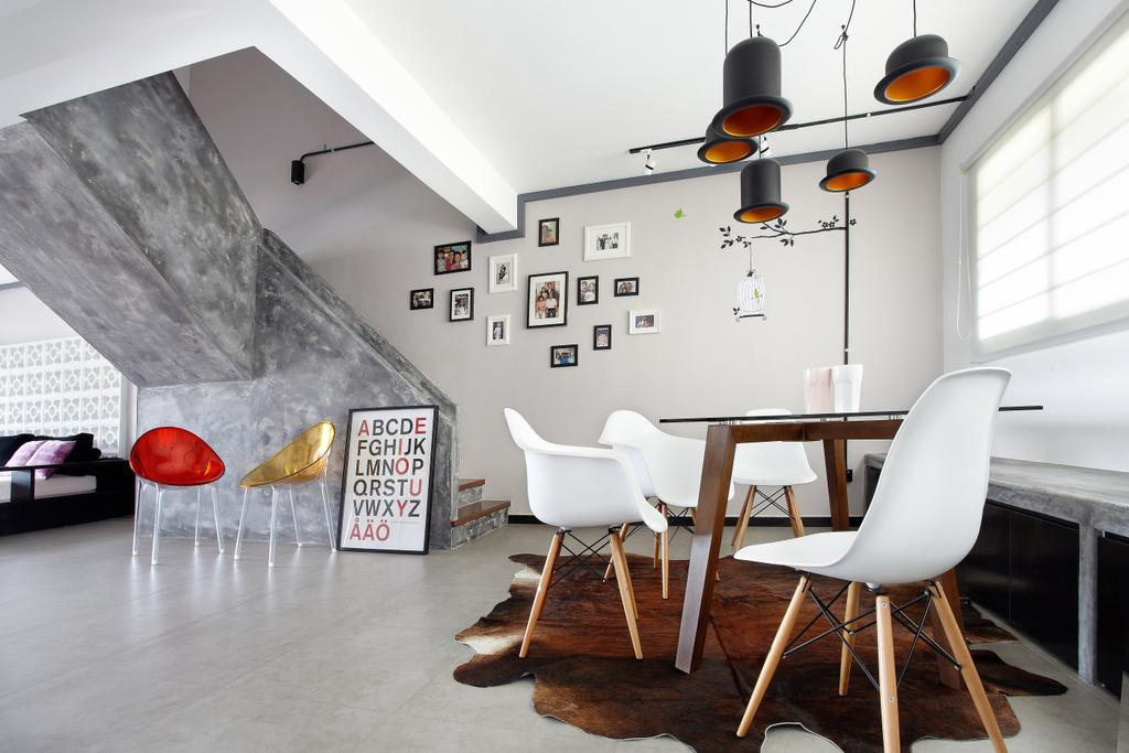Industrial, HDB, Dining Room, Jalan Rajah, Interior Designer, Free Space Intent, Chair, Furniture, Building, Housing, Indoors, Loft