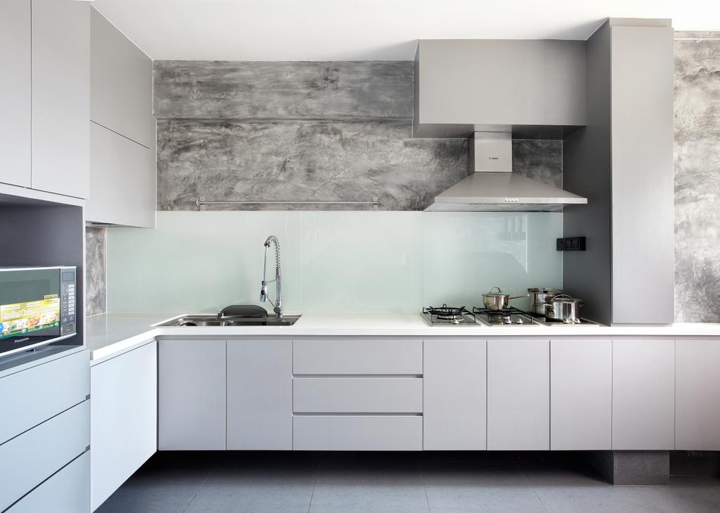 Industrial, HDB, Kitchen, Jalan Rajah, Interior Designer, Free Space Intent, Glass Backsplash, Backsplash, Grey, Gray, Indoors, Interior Design, Room