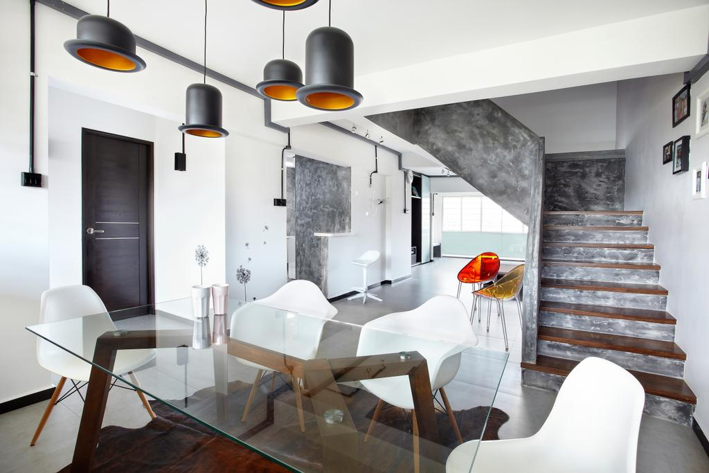 Industrial, HDB, Dining Room, Jalan Rajah, Interior Designer, Free Space Intent, Chair, Furniture, Dining Table, Table, Door, Sliding Door, Building, Housing, Indoors, Loft, Interior Design, Room