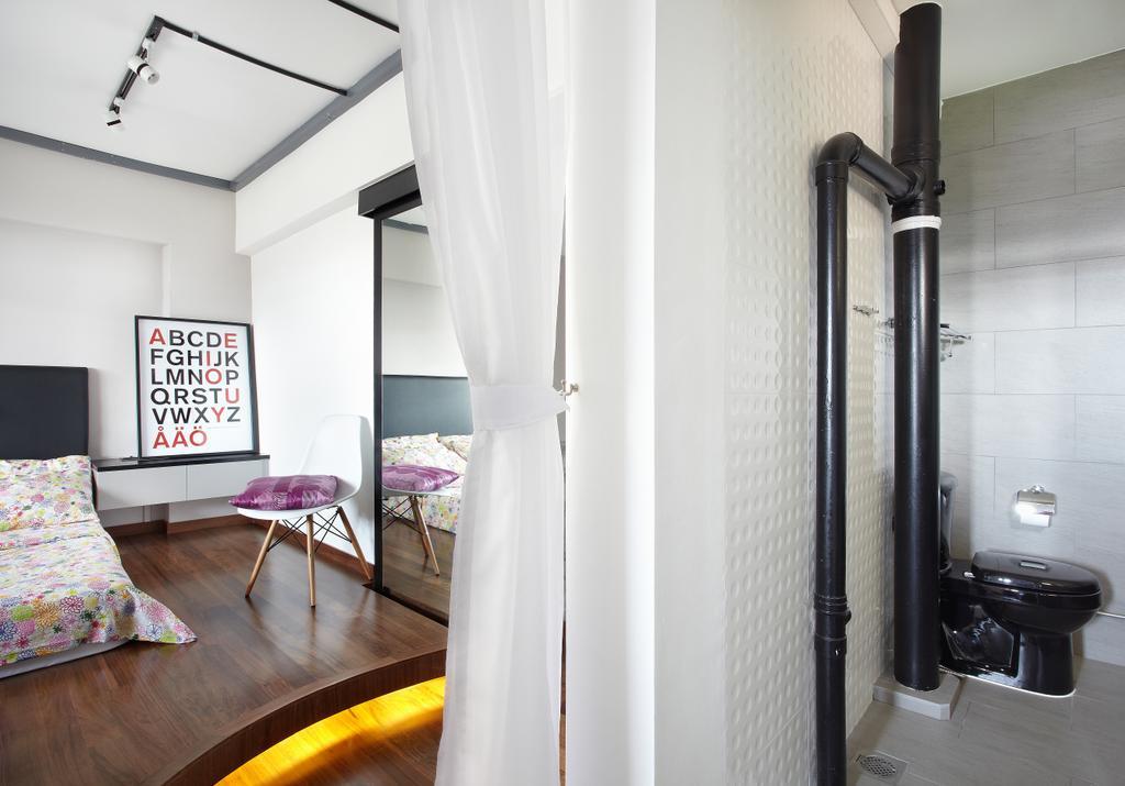 Industrial, HDB, Bathroom, Jalan Rajah, Interior Designer, Free Space Intent, Chair, Furniture, Building, Housing, Indoors, Loft, Bedroom, Interior Design, Room