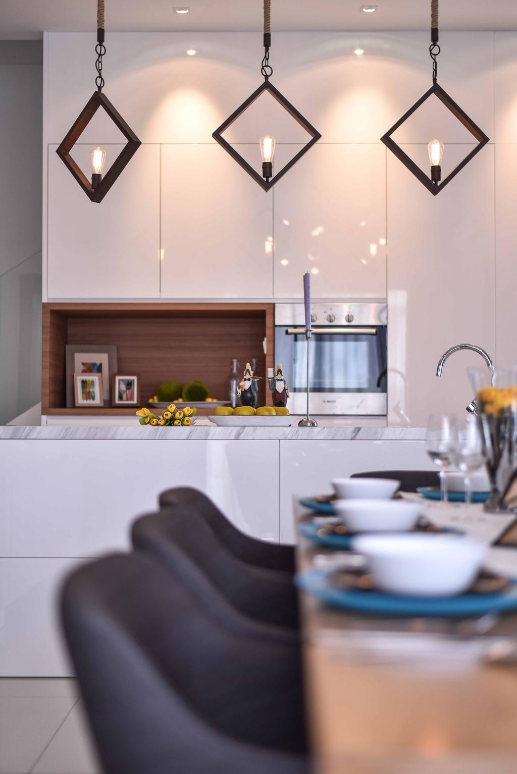 Contemporary, Landed, Kitchen, MKH Kajang East, Interior Designer, Nice Style Refurbishment, Hanging Lamps, Pendant Lamps, Kitchen Countertops, Countertop, Recessed Shelves, Cabinetry, Kitchen Cabinet, Cup, Glass, Indoors, Interior Design, Room