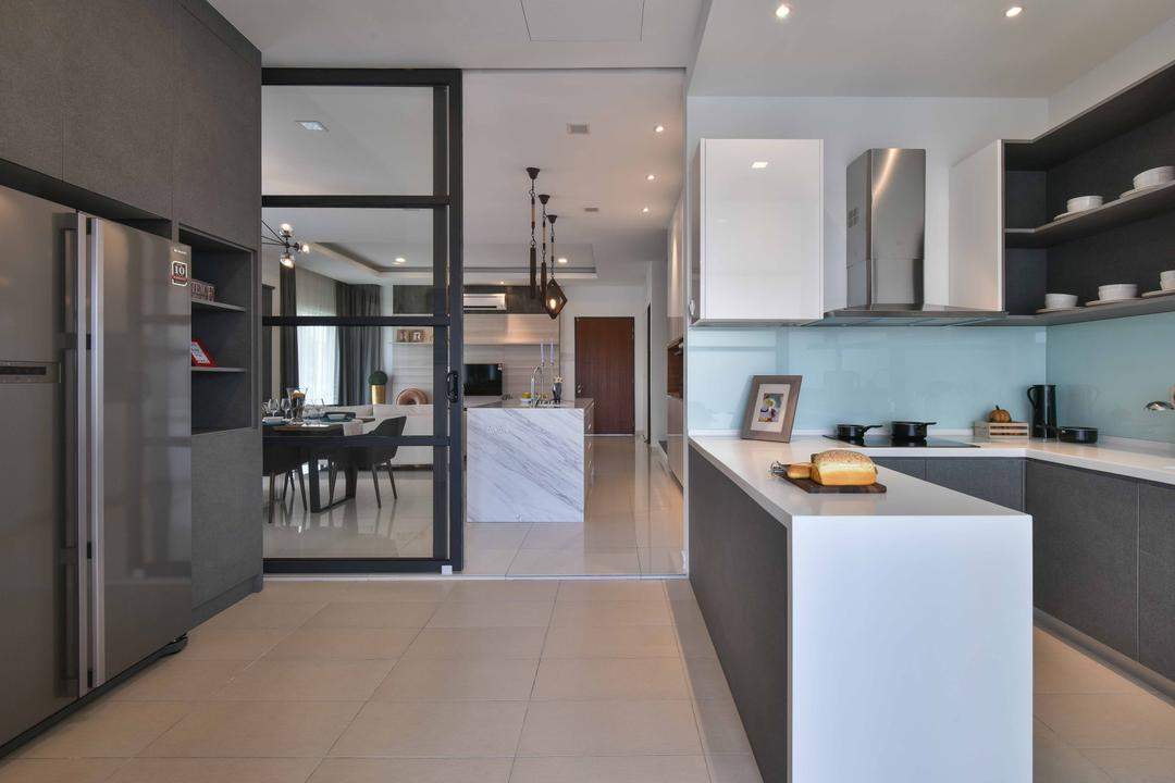 MKH Kajang East, Nice Style Refurbishment, Contemporary, Kitchen, Landed, Kitchen Countertop, Countertop, Cabinetry, Kitchen Cabinets, Sliding Door, Kitchen Hood, Exhaust Hood, Recessed Shelves, Dining Table, Furniture, Table, Indoors, Interior Design, Room, Molding, Dining Room