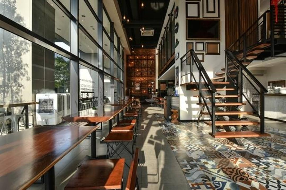 Walnut Cafe & Bar @ Puchong, M innovative Builders, Industrial, Modern, Commercial, Banister, Handrail, Staircase, Bench, Indoors, Lobby, Room