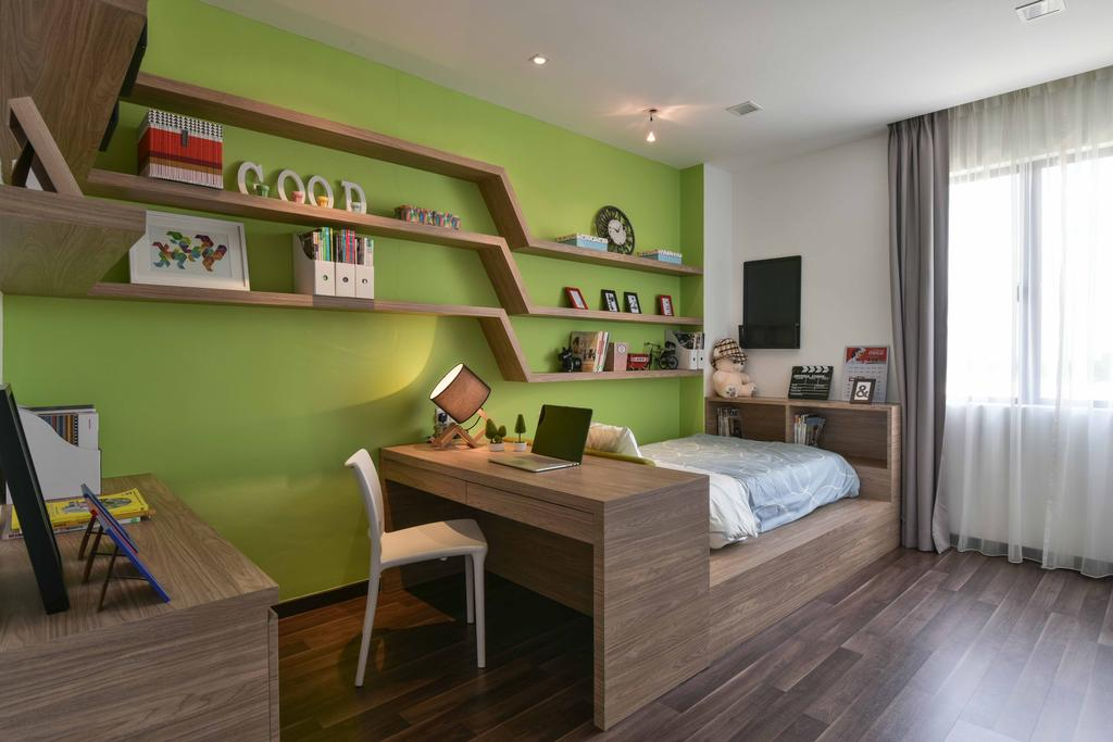 Contemporary, Landed, Bedroom, MKH Kajang East, Interior Designer, Nice Style Refurbishment, Green, Wall Shelves, Laminated Flooring, Platform Bed, Wood, Study Table, Chairs, Home Decor, Home Decorative Items, Table Lamps, Bed, Furniture, Flooring
