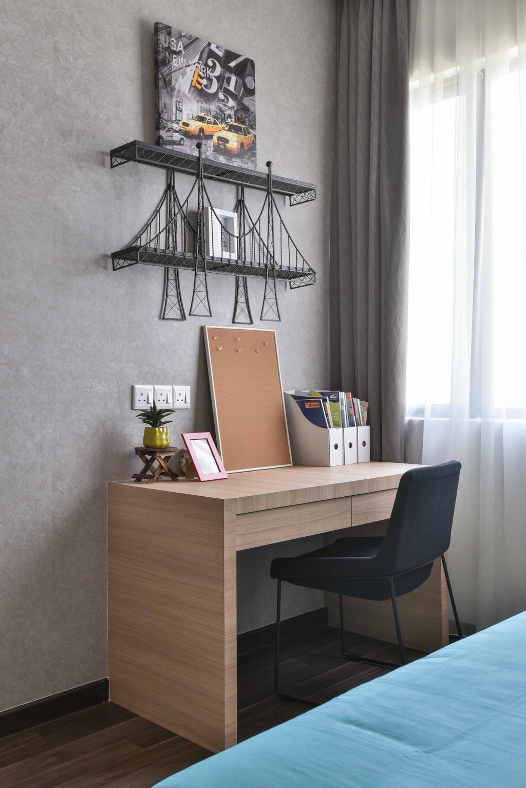 Contemporary, Landed, Bedroom, MKH Kajang East, Interior Designer, Nice Style Refurbishment, Study Table, Table, Chairs, Wall Art, Wall Painting, Home Decor, Home Decorative Items, Grey, Gray, Chair, Furniture
