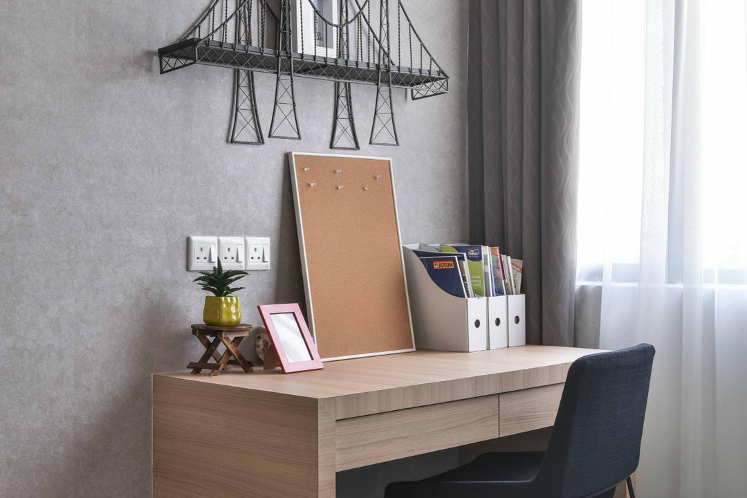 MKH Kajang East, Nice Style Refurbishment, Contemporary, Bedroom, Landed, Study Table, Table, Chairs, Wall Art, Wall Painting, Home Decor, Home Decorative Items, Grey, Gray, Chair, Furniture