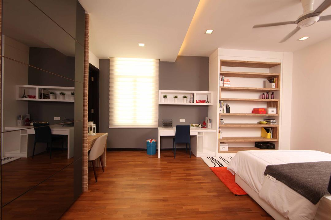 Setia Eco Park, Setia Alam, Nice Style Refurbishment, Minimalistic, Bedroom, Landed, White Bed, Study Table, Chairs, Wall Shelves, Bookshelves, Shelves, Laminated Flooring, Blinds, Window Blinds, Display Cabinet, Appliance, Electrical Device, Oven, Flooring, Indoors, Room