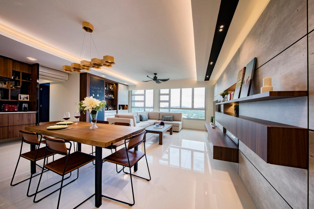 Clementi Avenue 4 (Block 312B), The Orange Cube, Contemporary, Scandinavian, Dining Room, HDB, Hanging Lights, False Ceiling, Homogenous Tiles, Cove Lights, Recessed Lighting, Furniture, Chair, Dining Table, Table, Flora, Jar, Plant, Potted Plant, Pottery, Vase, Indoors, Interior Design, Room, Basement