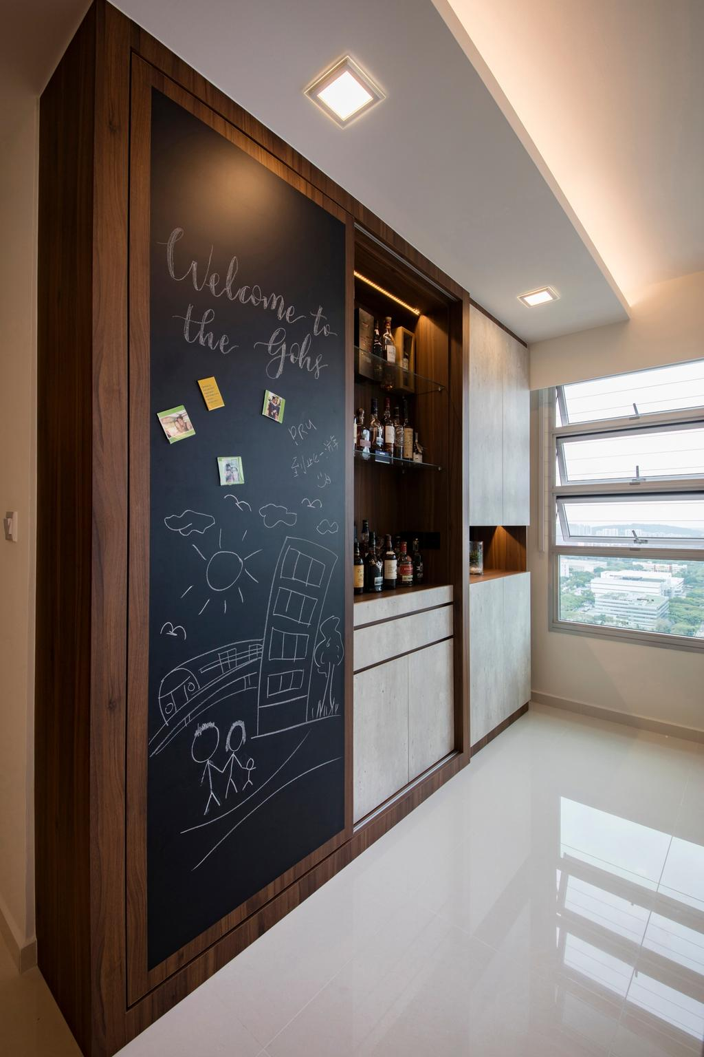 Contemporary, HDB, Living Room, Clementi Avenue 4 (Block 312B), Interior Designer, The Orange Cube, Scandinavian, Homogeneous Tiles, Chalkboard, Bar Counter, Sliding Door, Storage Cabinet, Laminates, Down Lights, Spotlights, Blackboard