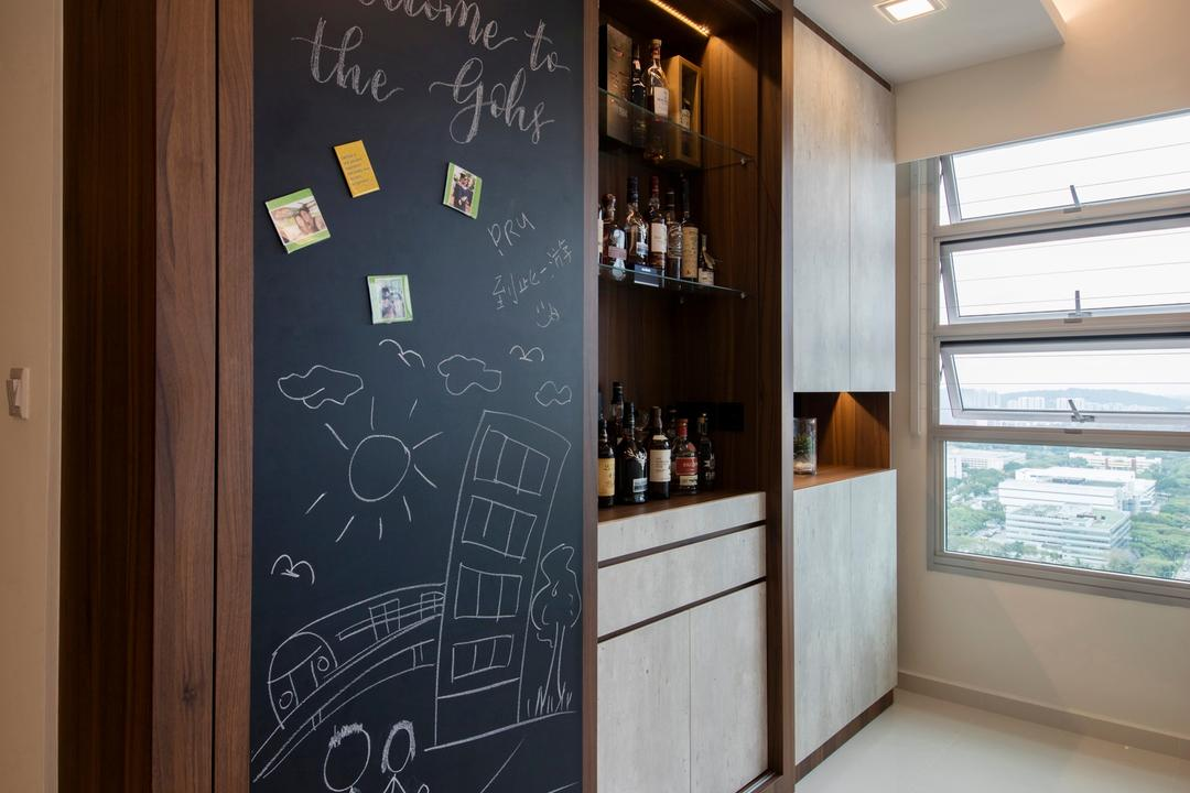 Clementi Avenue 4 (Block 312B), The Orange Cube, Contemporary, Scandinavian, Living Room, HDB, Homogeneous Tiles, Chalkboard, Bar Counter, Sliding Door, Storage Cabinet, Laminates, Down Lights, Spotlights, Blackboard