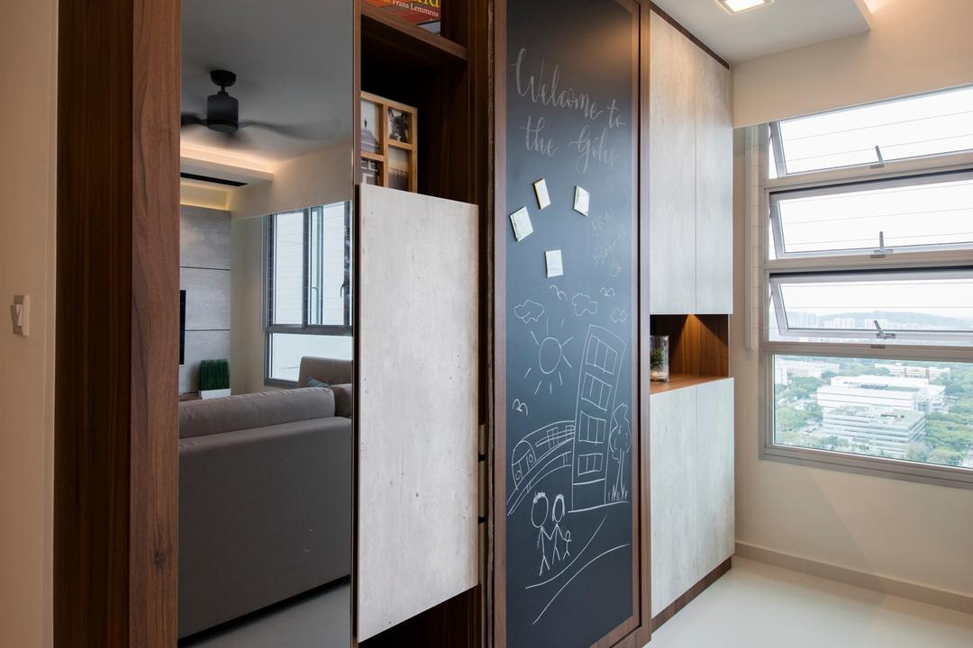 Clementi Avenue 4 (Block 312B), The Orange Cube, Contemporary, Scandinavian, Living Room, HDB, Cove Lights, Homogenous Tiles, Bar Counter, Storage Cabinet, Recessed Lights, Spotlights, Down Lights, Chalkboard, Building, Housing, Indoors, Loft