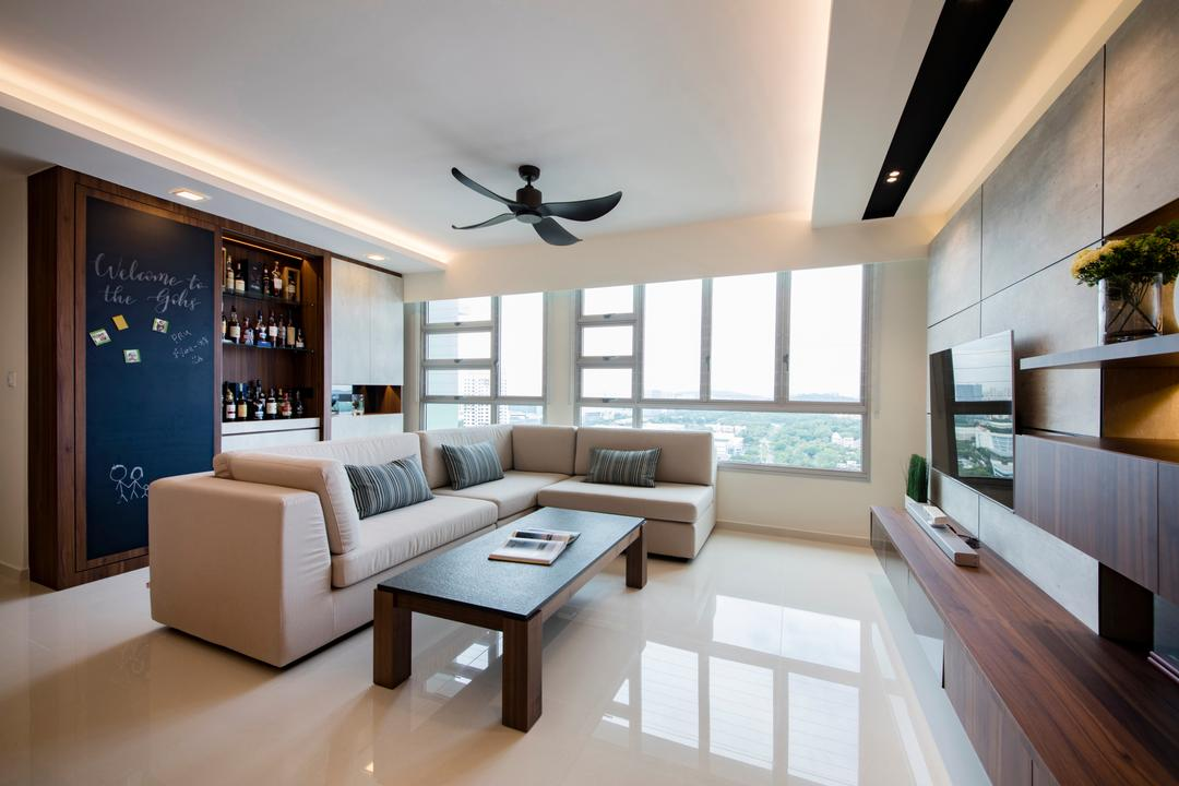 Clementi Avenue 4 (Block 312B), The Orange Cube, Contemporary, Scandinavian, Living Room, HDB, Ceiling Fan, Chalkboard, Feature Wall, L Shaped Sofa, Bar Counter, Sliding Door, False Ceiling, Indoors, Interior Design, Coffee Table, Furniture, Table
