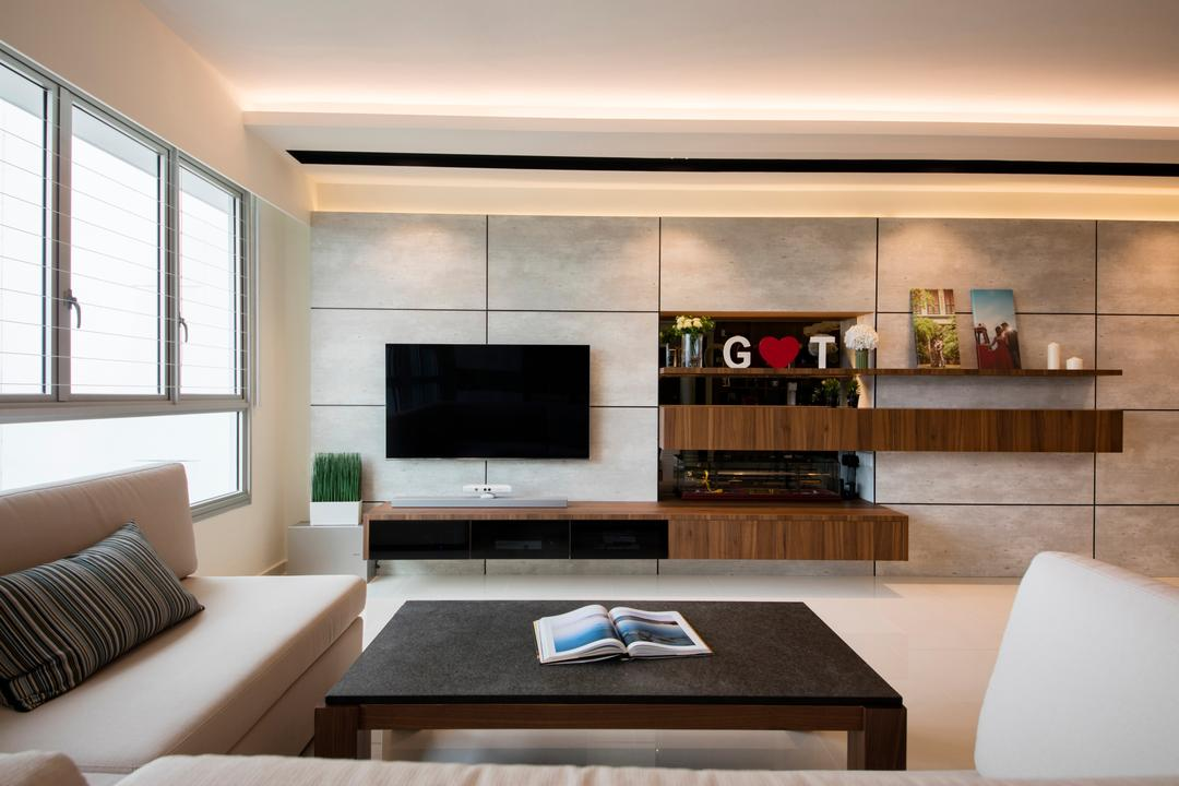 Clementi Avenue 4 (Block 312B), The Orange Cube, Contemporary, Scandinavian, Living Room, HDB, Tv Console, Recessed Lighting, Cove Lights, Wood Paneling, Indoors, Interior Design