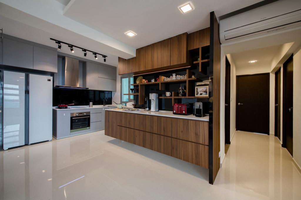 Contemporary, HDB, Kitchen, Clementi Avenue 4 (Block 312B), Interior Designer, The Orange Cube, Scandinavian, Laminate, Open Concept, Kitchen Counter, Track Lights, Glass Backsplash, Lighting, Flooring, Corridor