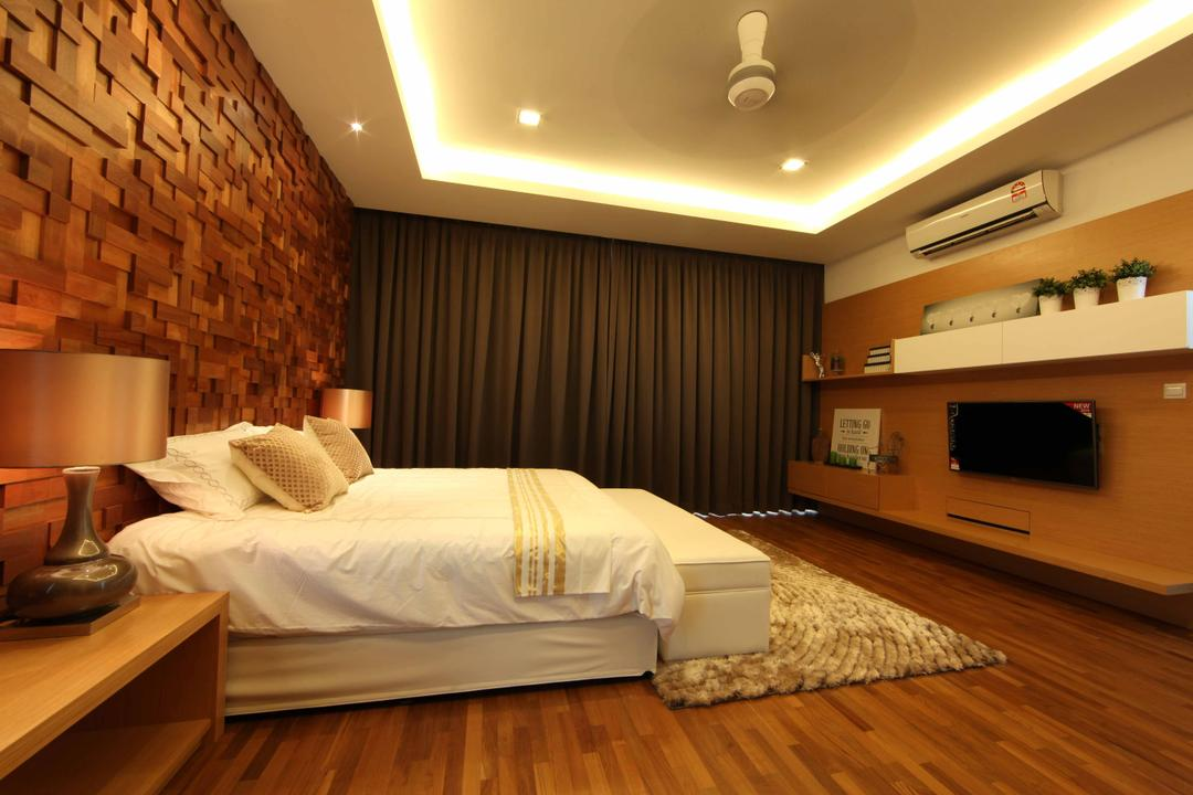 Setia Eco Park, Setia Alam, Nice Style Refurbishment, Minimalistic, Bedroom, Landed, False Ceiling, Cove Lighting, Feature Wall, White Bed, Bedroom Bench, Bedside Table, Bedside Lamps, Carpet, Laminated Flooring, Wall Shelves, Wood, Brown, Home Decor, Home Decorative Items, Appliance, Electrical Device, Microwave, Oven