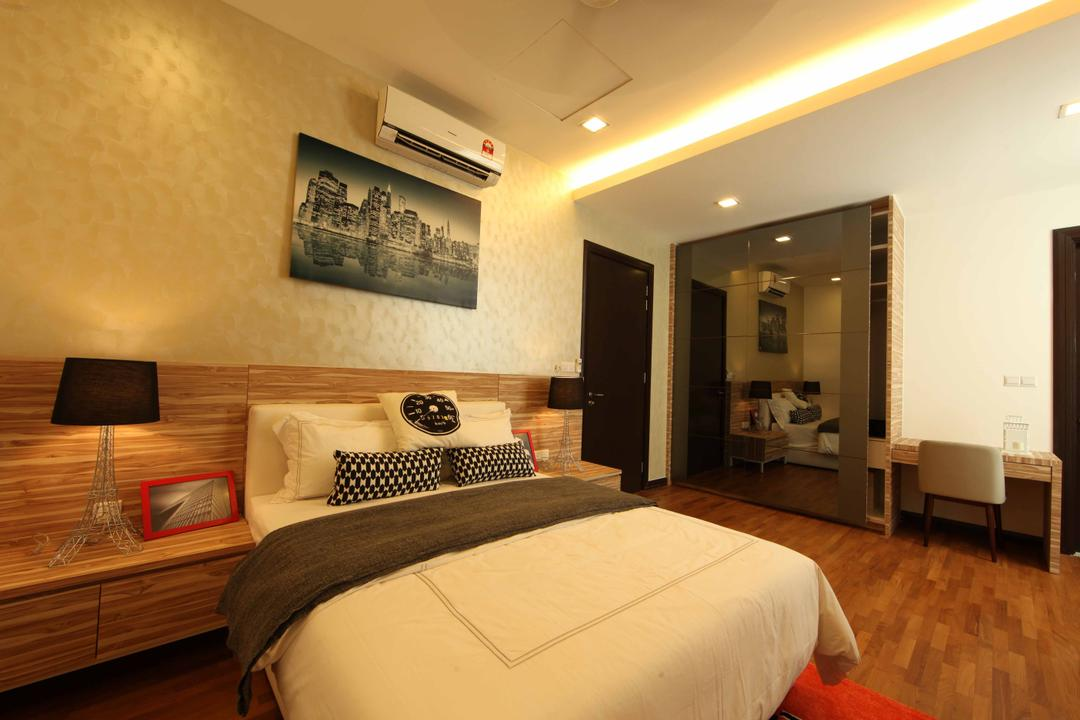 Setia Eco Park, Setia Alam, Nice Style Refurbishment, Minimalistic, Bedroom, Landed, Feature Wall, Wallpaper, Bedside Table, Wood, Bedside Lamps, Laminated Flooring, Wall Art, Wall Painting, Cove Lighting, White Bed, Wardrobe, Bed, Furniture, Indoors, Interior Design, Room