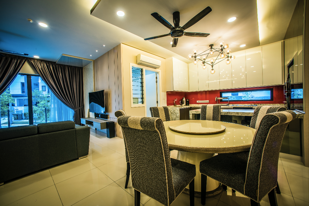 Landed, Dining Room, Sunway Montana, Interior Designer, IQI Concept Interior Design & Renovation, Chair, Furniture, Indoors, Interior Design, Room, Lighting