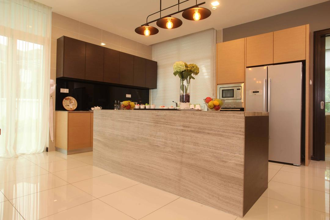Setia Eco Park, Setia Alam, Nice Style Refurbishment, Minimalistic, Kitchen, Landed, Kitchen Countertop, Countertop, Marble Countertop, Hanging Lamps, Pendant Lamps, Kitchen Cabinets, Cabinetry, Flora, Jar, Plant, Potted Plant, Pottery, Vase, Flooring