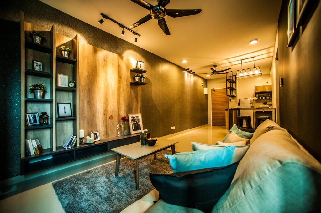 Condo, Living Room, Pearl Suria, Interior Designer, IQI Concept Interior Design & Renovation, Bed, Furniture, Jacuzzi, Tub