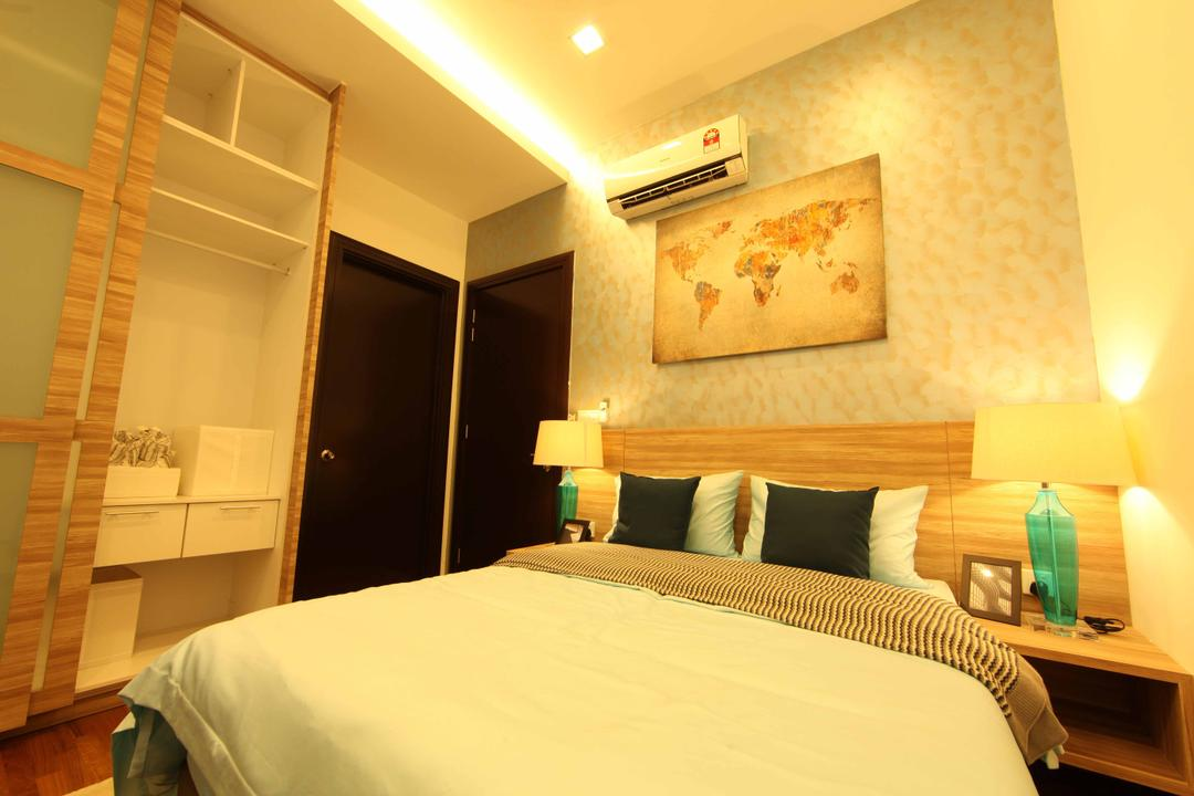 Setia Eco Park, Setia Alam, Nice Style Refurbishment, Minimalistic, Bedroom, Landed, Yellow Tone, Yellow Lighting, Wall Art, Wall Painting, Wallpaper, Bedside Table, Bedside Lamps, Headboard, Wardrobe, Wooden Wardrobe, Cove Lighting, Bed, Furniture, Indoors, Interior Design, Room
