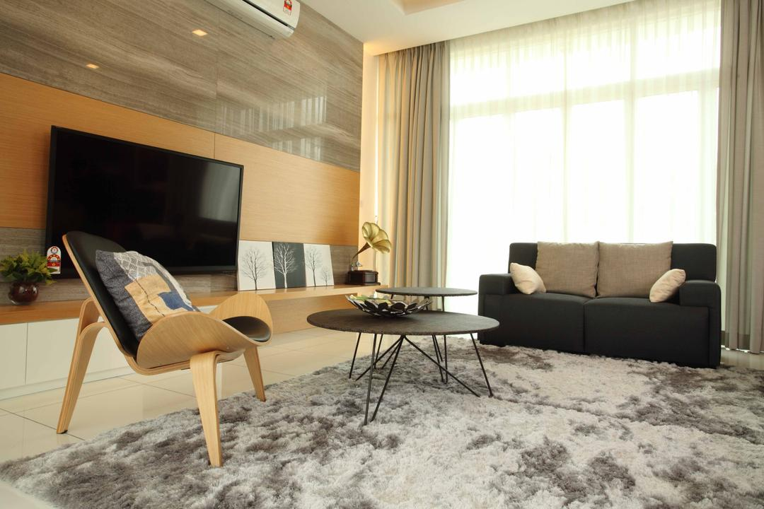 Setia Eco Park, Setia Alam, Nice Style Refurbishment, Minimalistic, Living Room, Landed, Feature Wall, Chairs, Wooden Chair, Coffee Table, Sofa, Fabric Sofa, Carpet, Electronics, Monitor, Screen, Tv, Television, Chair, Furniture, Dining Table, Table, Indoors, Room, Curtain, Home Decor, Window, Window Shade