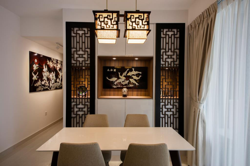 Traditional, Condo, Dining Room, La Fiesta, Interior Designer, Innerspace Design Solutions, Vintage, Oriental, Partition, Screen, Orient, Chinese, Asian, Traditional Screen, Indoors, Interior Design, Room, Chair, Furniture, Sink, Dining Table, Table, Art, Art Gallery, Modern Art