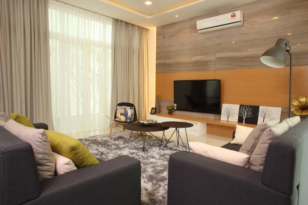 Setia Eco Park, Setia Alam, Nice Style Refurbishment, Minimalistic, Living Room, Landed, Feature Wall, Wall Art, Wall Painting, Coffee Table, Sofa, Fabric Sofa, Carpet, Standing Lamp, Floor Lamp, Chairs, Couch, Furniture, Lamp, Table, Indoors, Interior Design