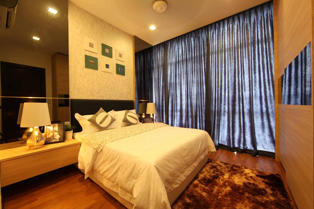 Setia Eco Park, Setia Alam, Nice Style Refurbishment, Minimalistic, Bedroom, Landed, Feature Wall, Carpet, Bedside Table, Bedside Lamps, Wall Art, Wall Painting, Wallpaper, Wood, Dark Curtains, Bed, Furniture, Indoors, Room, Lamp, Lighting, Interior Design