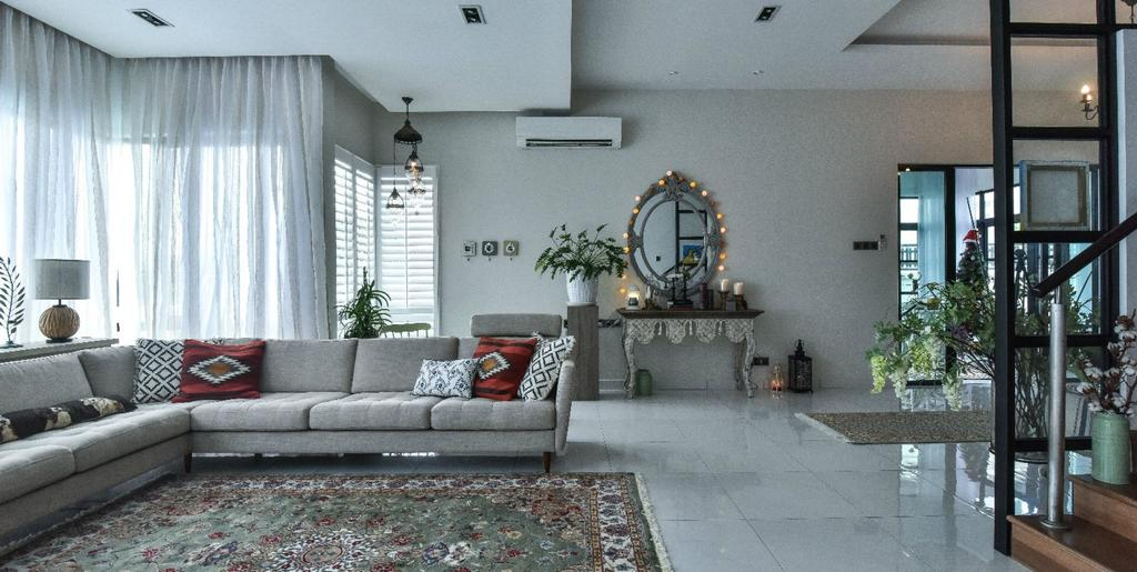 Modern, Landed, Living Room, 16 Sierra, Akira, Interior Designer, M innovative Builders, Flora, Jar, Plant, Potted Plant, Pottery, Vase, Couch, Furniture, Window, Indoors, Room