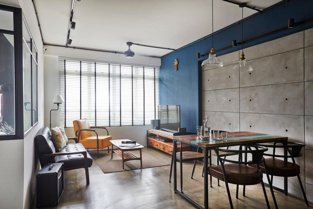 Eclectic, HDB, Living Room, Bendemeer Road, Interior Designer, Fuse Concept, Dining Table, Furniture, Table, Chair, Dining Room, Indoors, Interior Design, Room