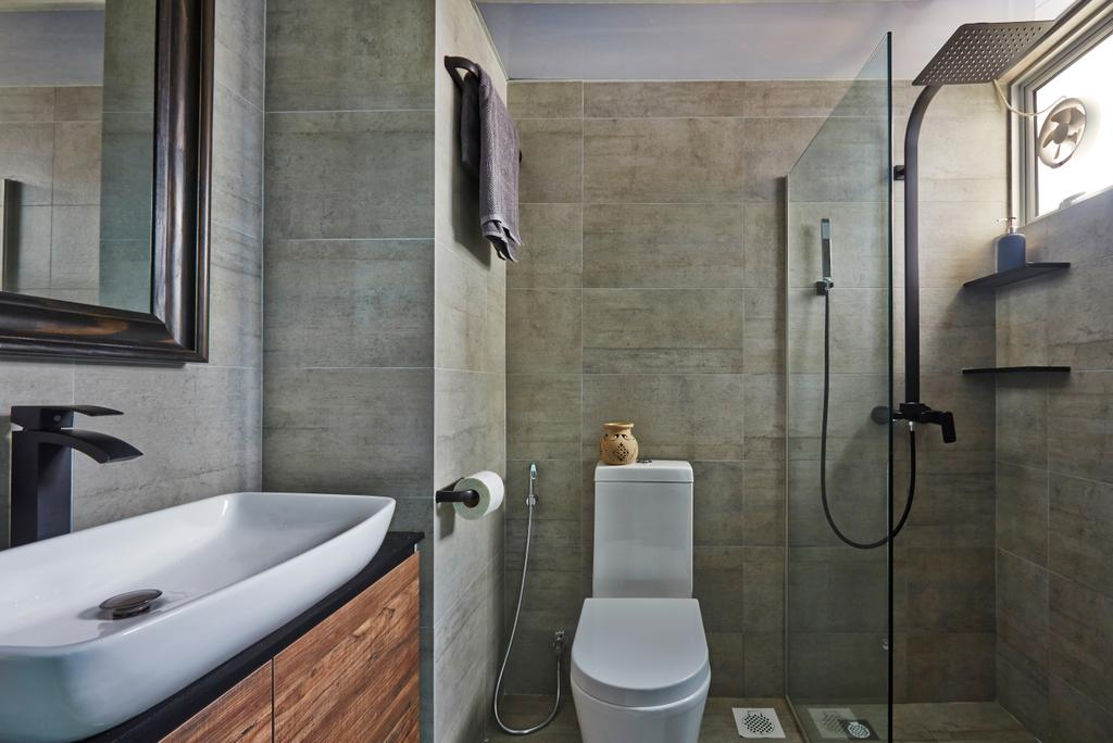 Eclectic, HDB, Bathroom, Bendemeer Road, Interior Designer, Fuse Concept, Indoors, Interior Design, Room, Toilet, Cross, Emblem
