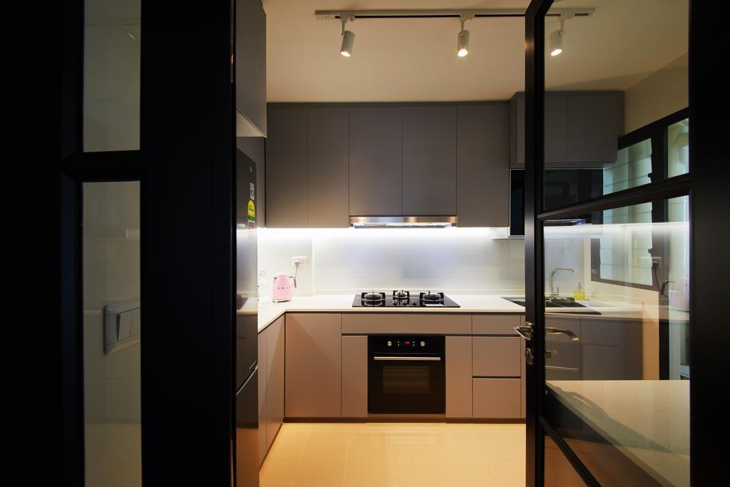 Modern, HDB, Kitchen, Hougang Meadows, Interior Designer, The Local INN.terior 新家室, Scandinavian, Appliance, Electrical Device, Oven, Door, Sliding Door, Indoors, Interior Design