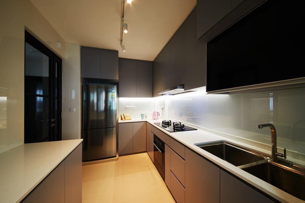 Modern, HDB, Kitchen, Hougang Meadows, Interior Designer, The Local INN.terior 新家室, Scandinavian, Indoors, Interior Design, Room, Door, Sliding Door