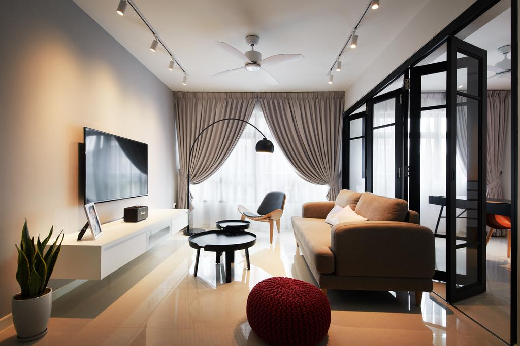 Modern, HDB, Living Room, Hougang Meadows, Interior Designer, The Local INN.terior 新家室, Scandinavian, Dining Table, Furniture, Table, Flora, Jar, Plant, Potted Plant, Pottery, Vase, Couch, Electronics, Lcd Screen, Monitor, Screen, Indoors, Room, Dining Room, Interior Design