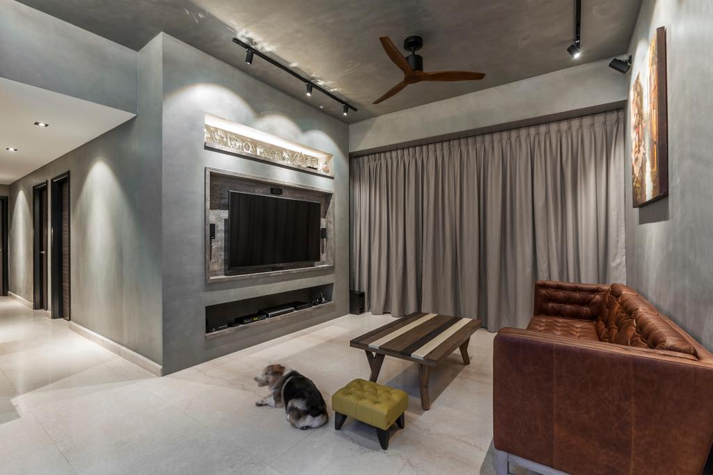Modern, Condo, Living Room, Thomson 800, Interior Designer, Rhiss Interior, Corridor, Indoors, Interior Design, Fireplace, Hearth, Chair, Furniture