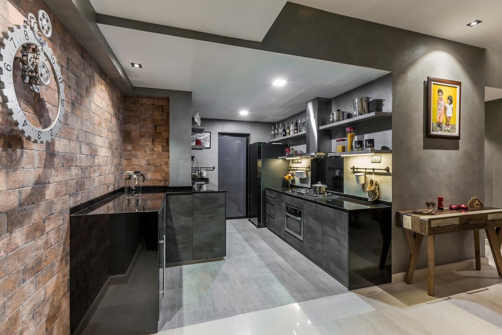 Modern, Condo, Kitchen, Thomson 800, Interior Designer, Rhiss Interior, Furniture, Table, Dining Table