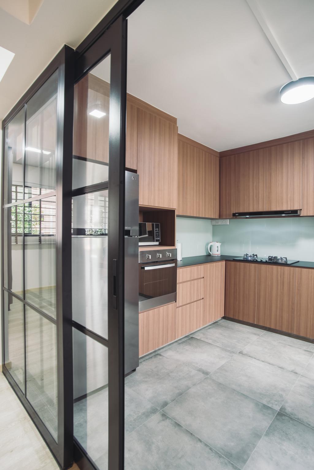 Modern, HDB, Kitchen, Clementi Street 13, Interior Designer, Urban Habitat Design, Indoors, Interior Design, Room, Curtain, Home Decor, Window, Window Shade