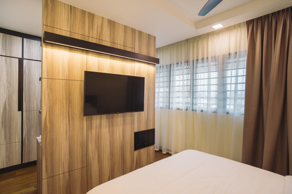 Modern, HDB, Bedroom, Clementi Street 13, Interior Designer, Urban Habitat Design, Curtain, Home Decor, Indoors, Interior Design, Wood