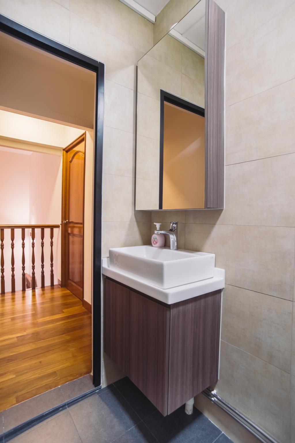 Modern, HDB, Bathroom, Clementi Street 13, Interior Designer, Urban Habitat Design, Banister, Handrail, Sink