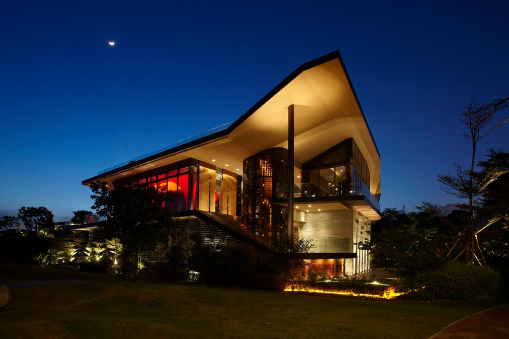 Contemporary, Landed, P House, Architect, Czarl Architects, Night, Outdoors, Flora, Plant, Tree, Conifer, Pine