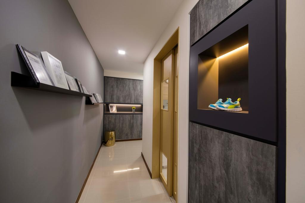 Modern, Condo, Living Room, Sea Horizon, Interior Designer, Starry Homestead, Corridor, HDB, Building, Housing, Indoors, Loft, Shelf