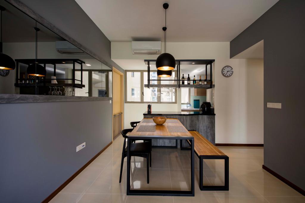 Modern, Condo, Dining Room, Sea Horizon, Interior Designer, Starry Homestead, Indoors, Interior Design, Kitchen, Room, Light Fixture, HDB, Building, Housing, Loft, Dining Table, Furniture, Table