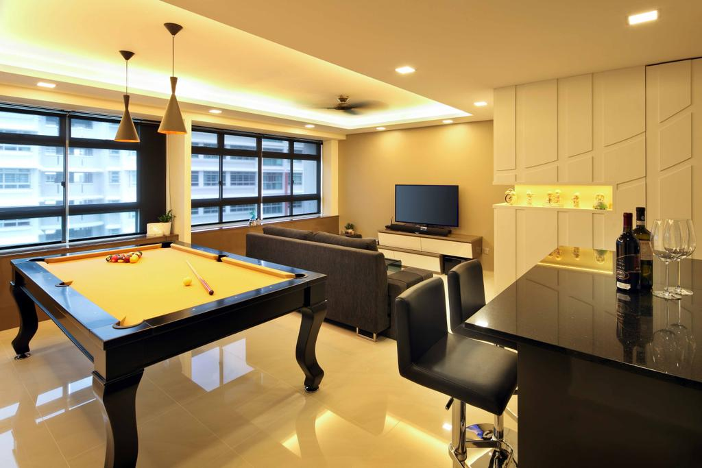 Modern, HDB, Living Room, Compassvale Link (Block 275A), Interior Designer, Space Concepts Design, Billiard Room, Furniture, Indoors, Pool Table, Room, Table, Chair, Electronics, Entertainment Center, Home Theater, Conference Room, Meeting Room