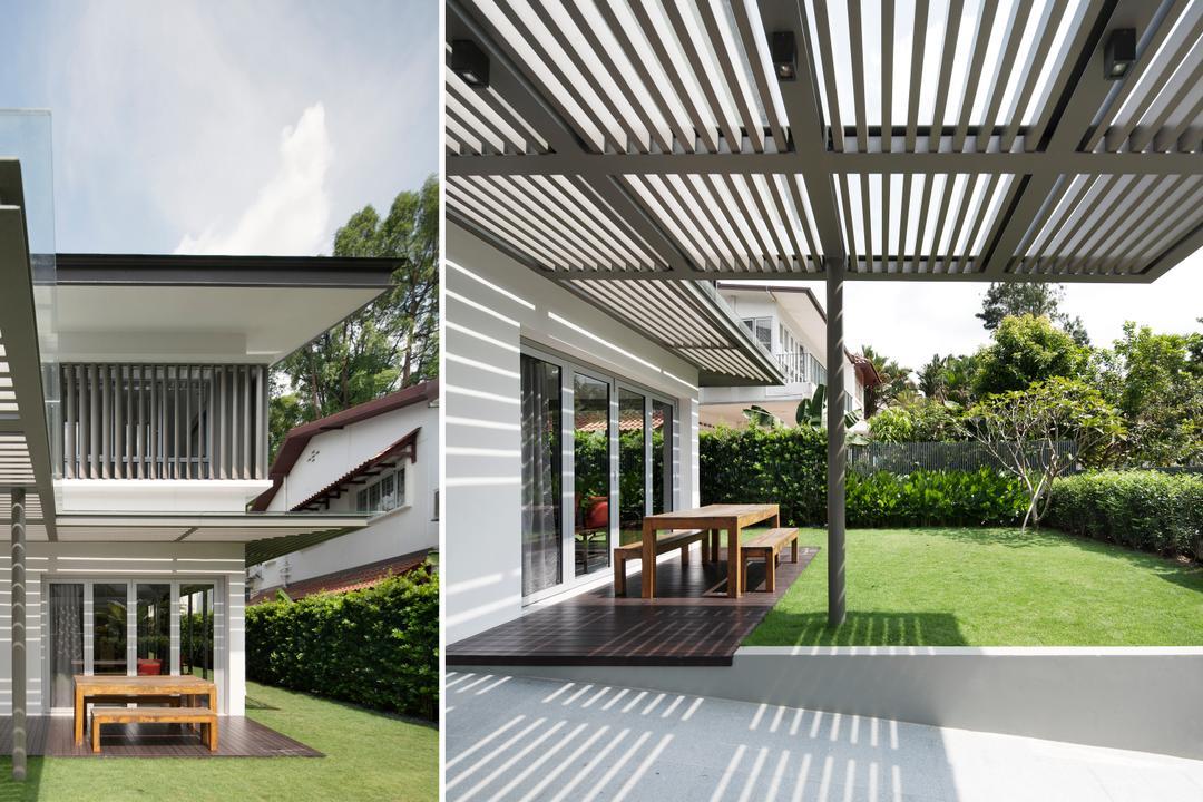 Westlake House (Bukit Timah), Wallflower Architecture + Design, Minimalistic, Landed, Fence, Flora, Hedge, Plant, Jar, Potted Plant, Pottery, Vase, Patio, Pergola, Porch, Building, House, Housing, Villa