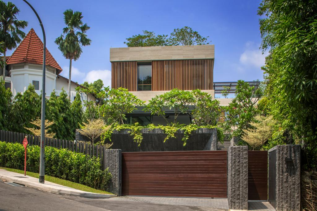 Contemporary, Landed, Secret Garden House (Bukit Timah), Architect, Wallflower Architecture + Design, Arecaceae, Flora, Palm Tree, Plant, Tree, Building, House, Housing, Villa, Brick, Roof, Tile Roof