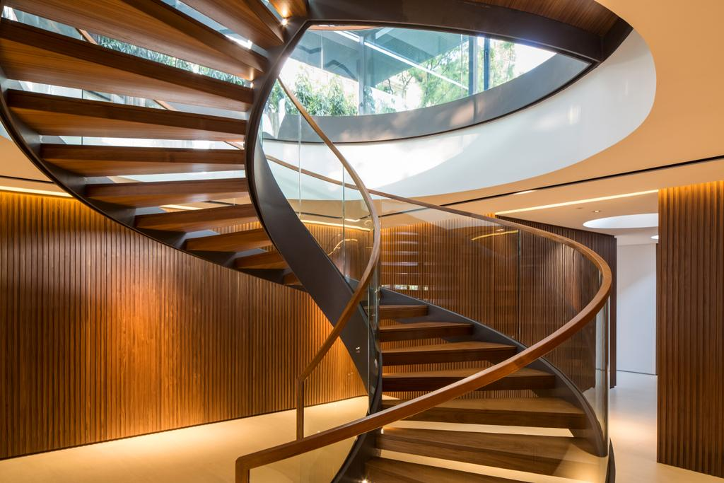 Contemporary, Landed, Secret Garden House (Bukit Timah), Architect, Wallflower Architecture + Design, Banister, Handrail, Staircase